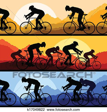Clipart Of Sport Road Bike Riders And Bicycles Detailed Silhouettes