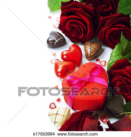 Stock Photo Of St Valentine S Day Roses And Chocolate K17053994