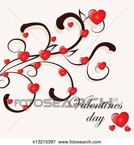 Clip Art Stilizzato Amore Albero Fatto Di Cuori K13215397