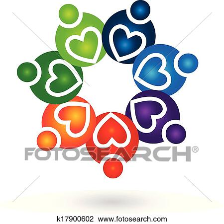 clipart of teamwork solidarity people logo k17900602 Business Card Icon Business Card Design