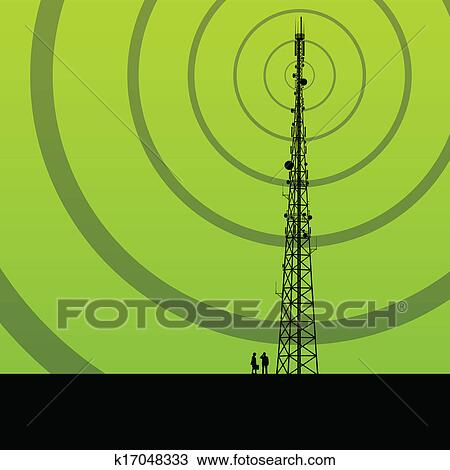 Telecommunications radio tower or mobile phone base station concept  background vector Clipart