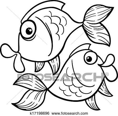 Clip Art - tierkreis, fische, oder, fische, färbung, seite k17198696 ...
