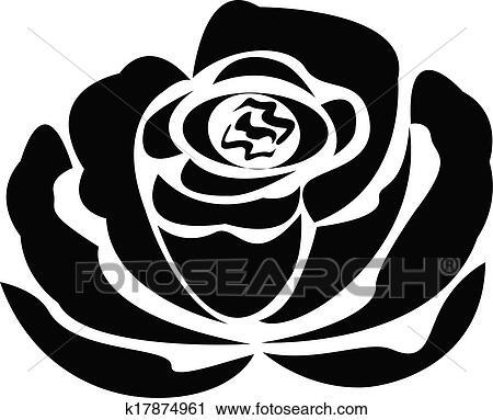 Clipart of Vector black rose silhouette logo k17874961 - Search Clip Art, Illustration Murals ...