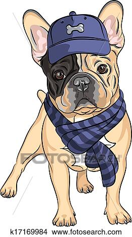 Clipart Of Vector Funny Cartoon Hipster Dog French Bulldog Breed