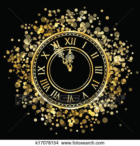 clipart vector gold new year clock fotosearch search clip art illustration murals