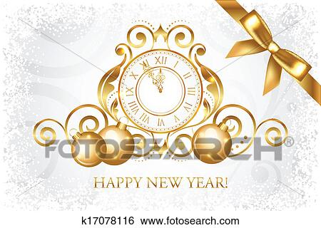 clip art vector silver gold happy new year fotosearch search clipart