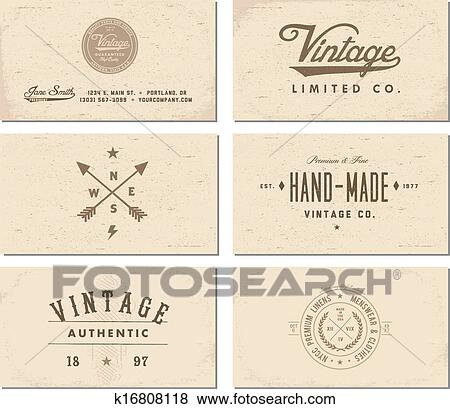 Clip Art Of Vector Vintage Business Card Template Set K16808118