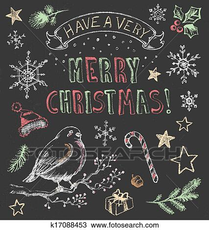 clipart of vintage christmas chalkboard set k17088453 search clip