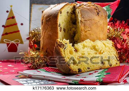 Stock Foto Weihnachten Italienischer Kuchen Gerufen Panettone