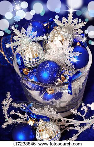 Stock Bilder Weihnachtsdeko In Tief Blau Farben K17238846