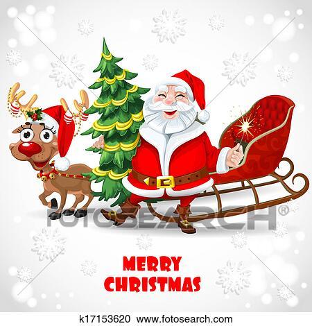 Clipart Weihnachtsmann Mit Rentier Ziehen Schlitten K17153620
