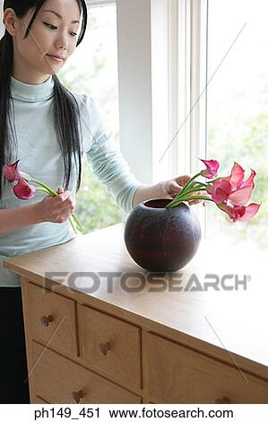Stock Image - Young woman putting flowers in a flower vase. Fotosearch  sc 1 th 282 & Young woman putting flowers in a flower vase Stock Image | ph149_451 ...