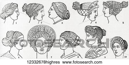 Numbers 1-8 Greek hairstyles. Numbers 9 and 10 Roman ...
