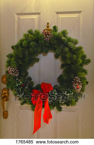 Christmas Wreath On Door Stock Photography 1765485 Fotosearch
