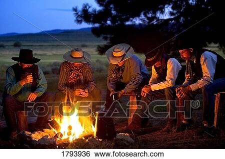 Stock Images Of Group Of Cowboys Around A Campfire 1793936
