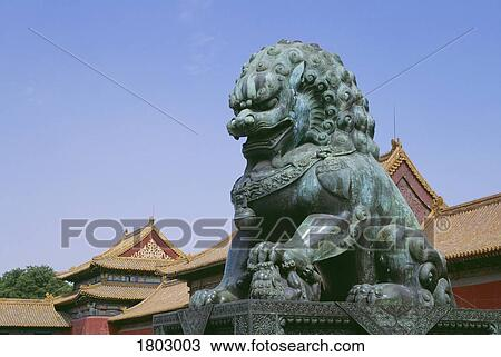 Bronze Statue Of A Lion In The Forbidden City Beijing China