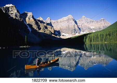 Man In Canoe Moraine Lake Banff National Park Alberta