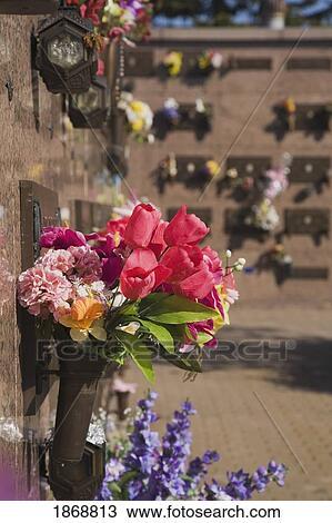 Stock photo of laval quebec canada silk flower arrangements at a laval quebec canada silk flower arrangements at a columbarium mightylinksfo