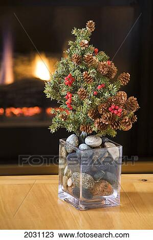Stock Photo Of Small Real Fur Tree Decorated With Cones And Red