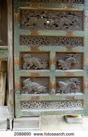 Carved wooden japanese temple door; koyasan wakayama japan stock