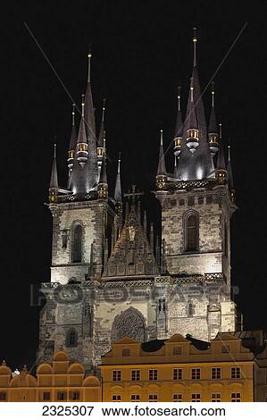 Church Building With Two Towers Illuminated At NightPrague Czech Republic