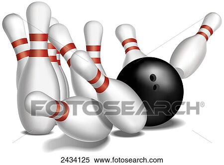 Stock Image Of Bowling Pins Being Knocked Down By A Bowling Ball