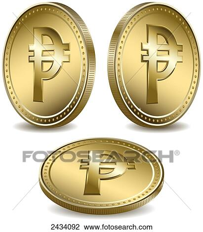 Stock Photo Of Philippine Peso Symbol On Gold Coins 2434092 Search
