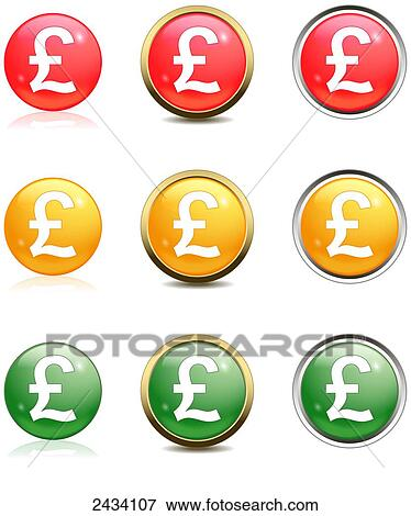 Picture Of Pound Currency Symbol On Red Yellow And Green Buttons