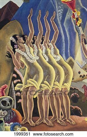 Stock Photography of C.1940 Four Hula Dancers Arms In Air, Deco Hula ...
