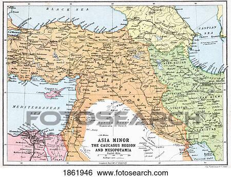 Carte Asie Mineur.Carte De Asie Mineure Et Caucase Region Et Mesopotamie A Debut De Premier Mondiale War Depuis Les Grand Guerre Mondiale A
