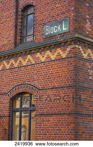 Corner of a brick building with a sign for Block L; Hamburg, Germany Stock  Photograph | 2419936 | Fotosearch