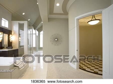Elegante, moderno, cuarto de baño, decoración Banco de Fotografías