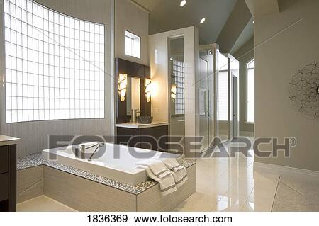 Elegante, moderno, cuarto de baño, decoración Colección de foto
