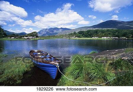 Fishing Boat On Upper Lake, Killarney National Park, County Kerry, Ireland  Stock Photograph