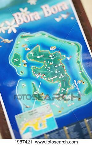 French Polynesia Tahiti Two Dimensional Map Of Bora Bora