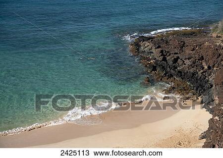 Hawaii Maui Snorkelers At Makena Beach State Park Stock Image