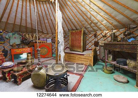Interior of a traditional Mongolian ger (yurt) by Ongi Monastery,  Saikhan-Ovoo, Dundgovi Province, Mongolia Picture