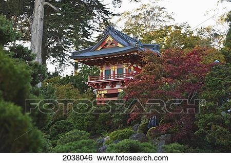 Jardin japonais thé, dans, porte or, park;, san francisco, californie,  etats-unis amérique Banque de Photographies