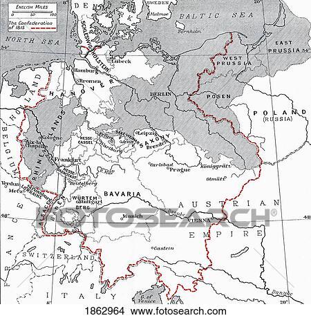Karta Europa 1815.Karta Av Tyskland In 1815 Fran Den Bok Europa In Det