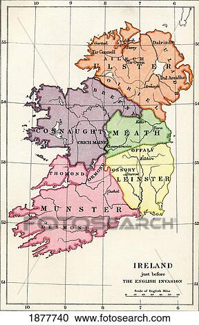 Map Of Ireland Book.Map Of Ireland Just Before The English Invasion 1588 To 1610 From The Book Short History Of The English People By J R Green Published London