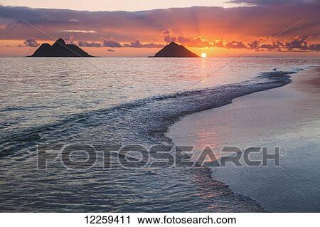 Sunrise At Lanikai Beach Kailua Island Of Hawaii Hawaii