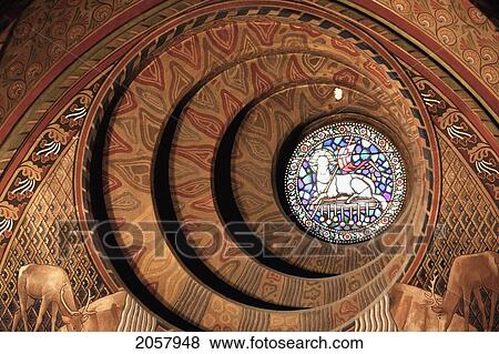 4e7e214ca The Round Window Behind The Neo-Roman Baptising Fountain Designed By  Schulek Shows A Scene From The Apocalypse Of St John: The Lamb Of God And  The Sealed ...