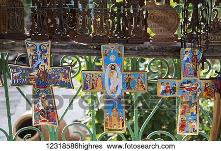 Crosses For Sale >> Painted Crosses For Sale By The Sanahin Monastery Lori Province Armenia Stock Photograph