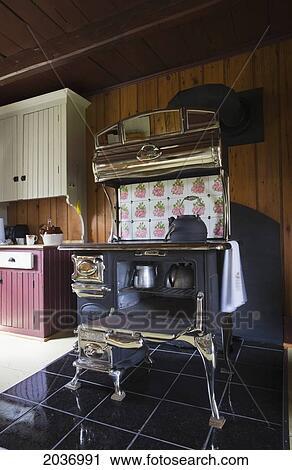 Banco de Fotografías - antigüedad, cocina, madera, abrasador, estufa ...