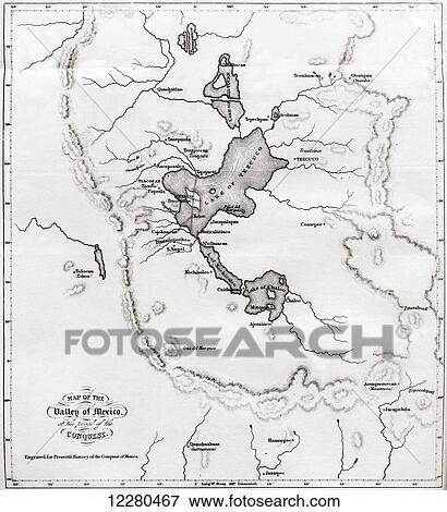 Picture Of Map Of The Valley Of Mexico At The Time Of The Conquest