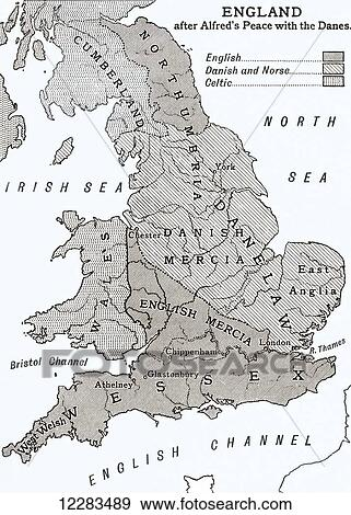 Stock Photograph of A map of England after king Alfred's peace with on map of england 11th century, map wessex england and vikings, map of britain in the 5th century, map of england 10th century, map of british isles 9th century, map of england 13th century, map of england 19th century, map of scandinavia in the 7th century, map of england 15th century,