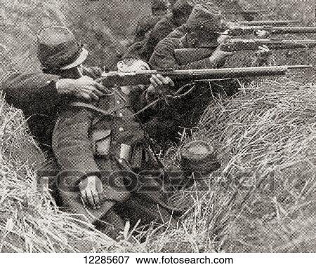 French soldiers fighting in the trenches during WWI  From The War  Illustrated Album Deluxe, published 1915  Stock Photo