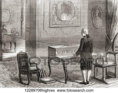 The first demonstration in 1774, of the electrical telegraph ...