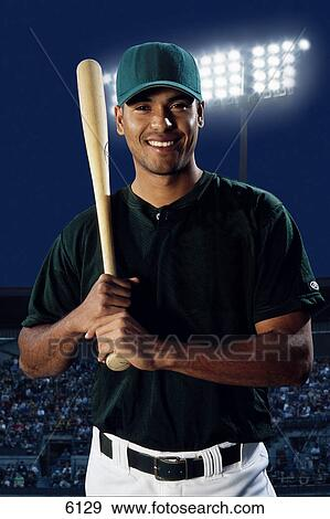 Baseball Player With Bat On Shoulder Stock Photo 6129