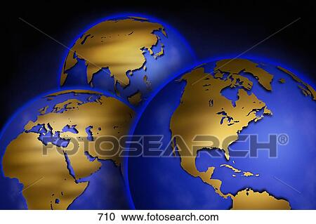 Stock Photography Of Three Globes With Unmarked Maps Of Different